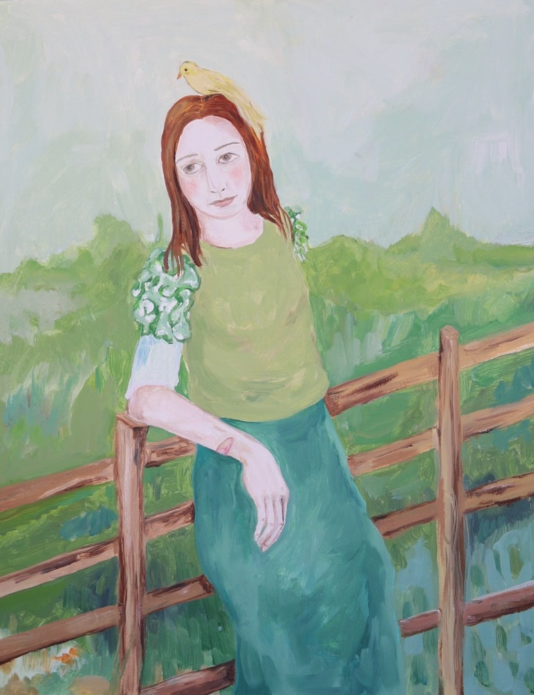 Oil painting a girl watching the day by Katherine Bennett