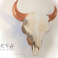 Painting Buffalo Skull by Gary Huff