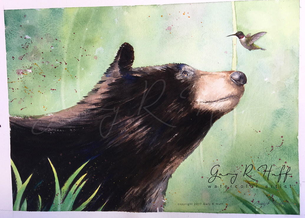 Painting Bear Meets Ruby-Throated by Gary Huff