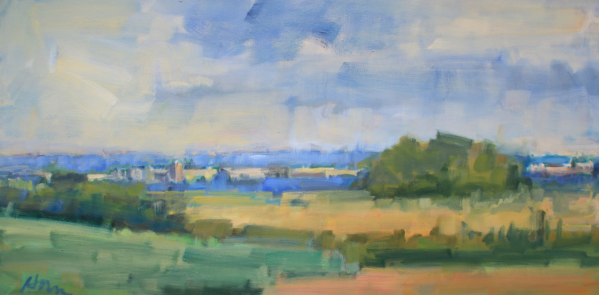 "Overlook towards  Prescott, Oil On Canvas, 18"" x 36"" by Susan Horn"