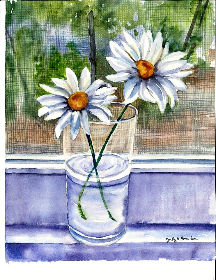 Watercolor aunt Jenny's daisies by Judy Fowler