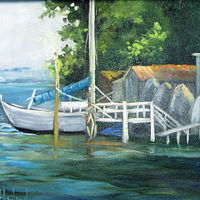 Oil painting Miniature Boat Dock  by Barbara Haviland