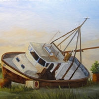 Oil painting Shipwrecked Ike II Barbara Haviland by Barbara Haviland