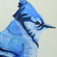 Oil painting Vale Bluejay, 2017 by Edith dora Rey