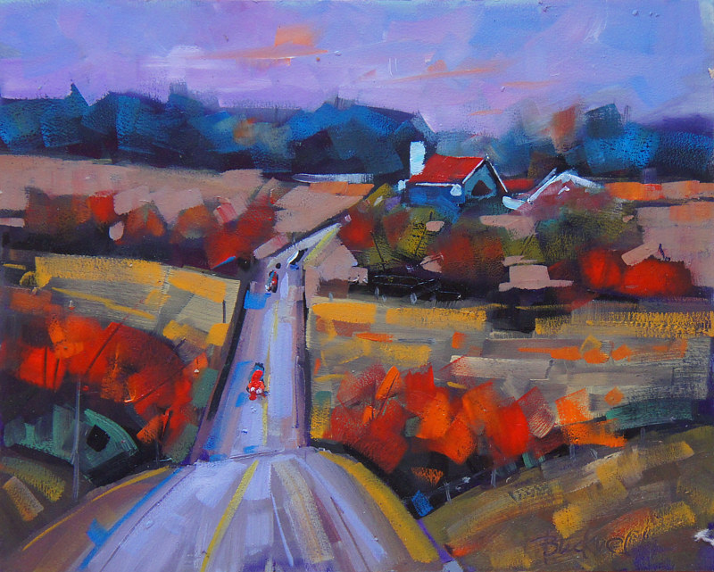 Airport Rd Autumn   Oil 8x10 2014 by Brian  Buckrell