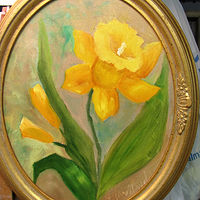 Oil painting Daffodils oval framed fine art by Barbara Haviland