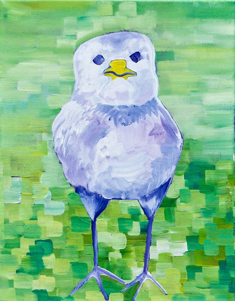 Acrylic painting I was a Little Chicken by Donna Howard