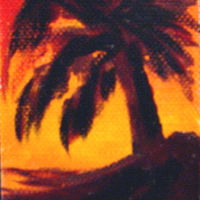 Oil painting Sunset Palm Tree ACEO by Barbara Haviland