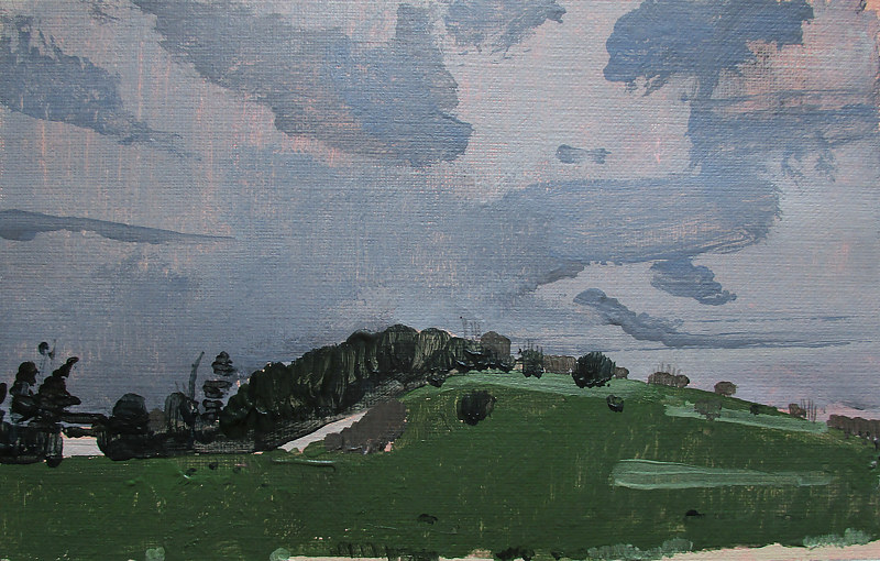 Acrylic painting May Showers, Lost Dog Hill by Harry Stooshinoff