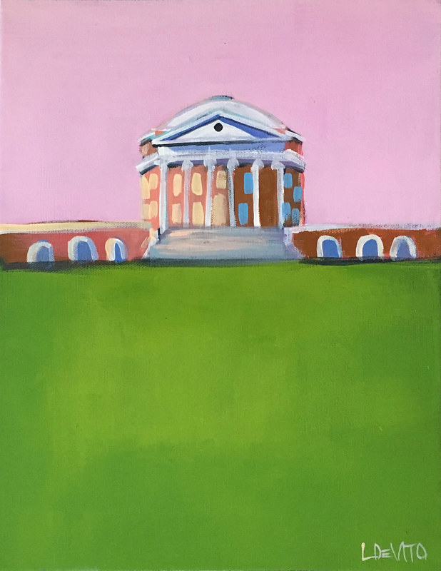 Painting UVA ROTUNDA PAINTING - PINK SKY  by Lesli Devito