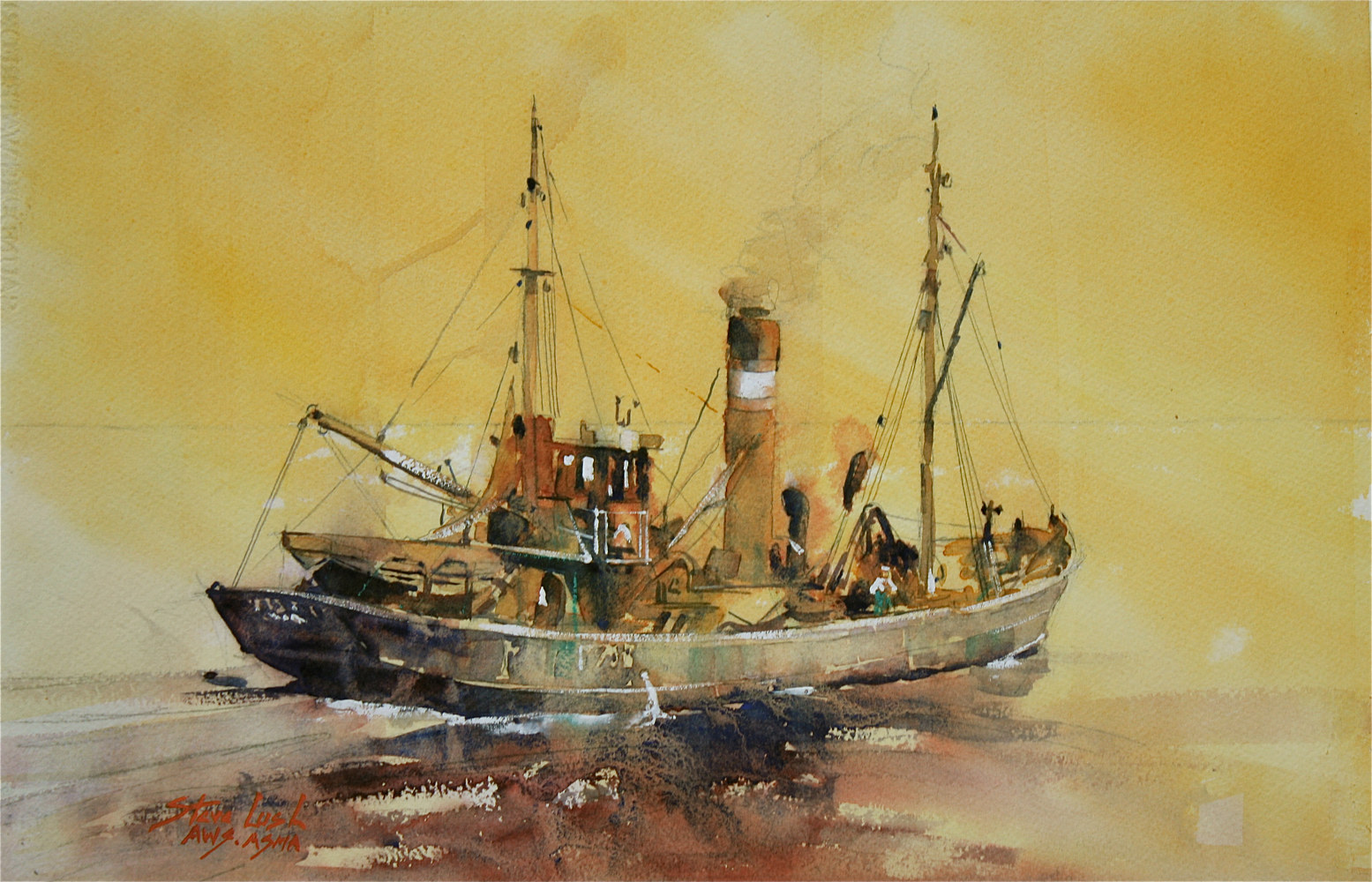 Watercolor North Sea Trawler by Nella Lush