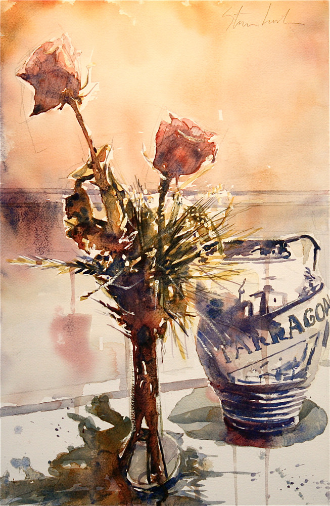 Watercolor Roses and Tarragona Vase by Nella Lush