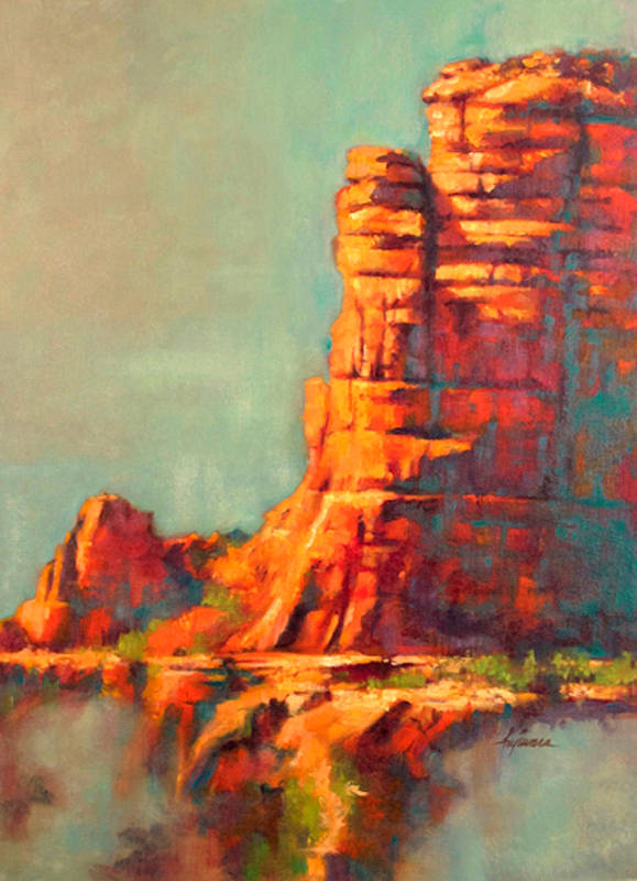 Oil painting Red Rock by Kim Fujiwara