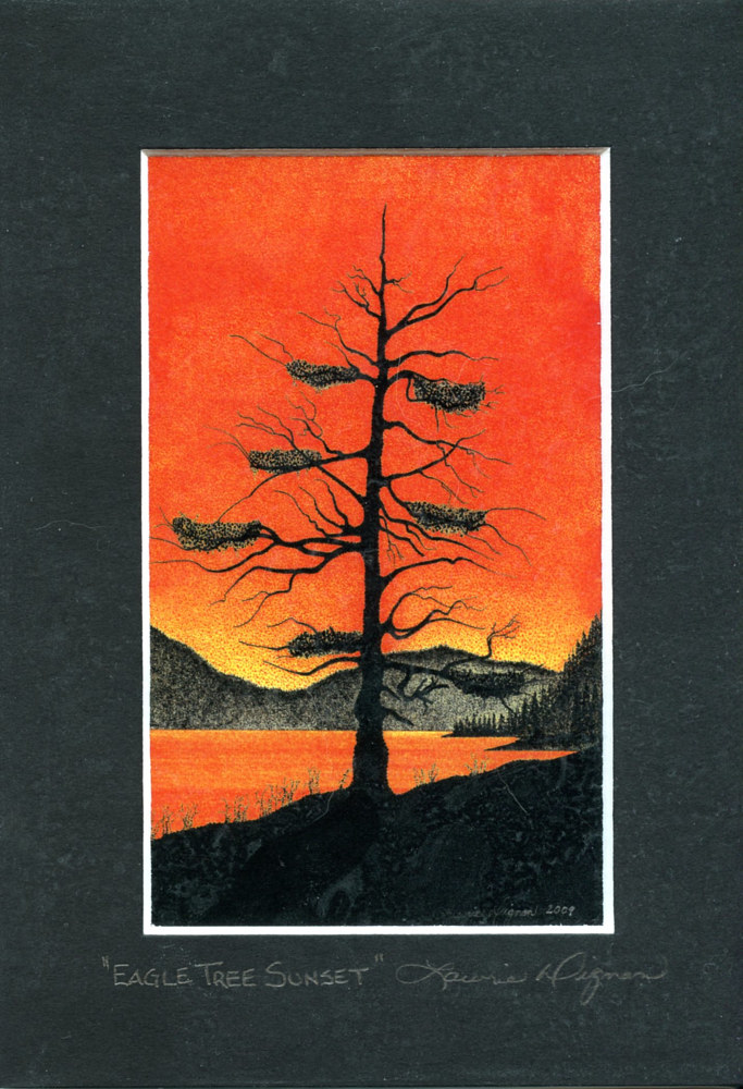 Print Eagle Tree Sunset by Lawrie  Dignan