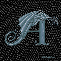 "Print Dragon Letter A, 5""x7"" print by Sue Ellen Brown"