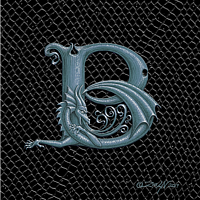 "Print Dragon Letter B, 5""x7"" print by Sue Ellen Brown"