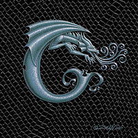 "Print Dragon Letter C, 5""x7"" print by Sue Ellen Brown"