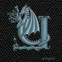 "Print Dragon Letter Y, 5""x7"" print by Sue Ellen Brown"