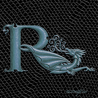 "Print Dragon Letter R, 5""x7"" print by Sue Ellen Brown"