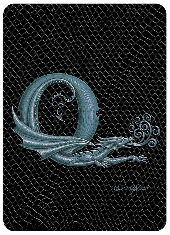 "Print Dragon Letter Q, 5""x7"" print by Sue Ellen Brown"