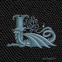 "Print Dragon Letter L, 5""x7"" print by Sue Ellen Brown"