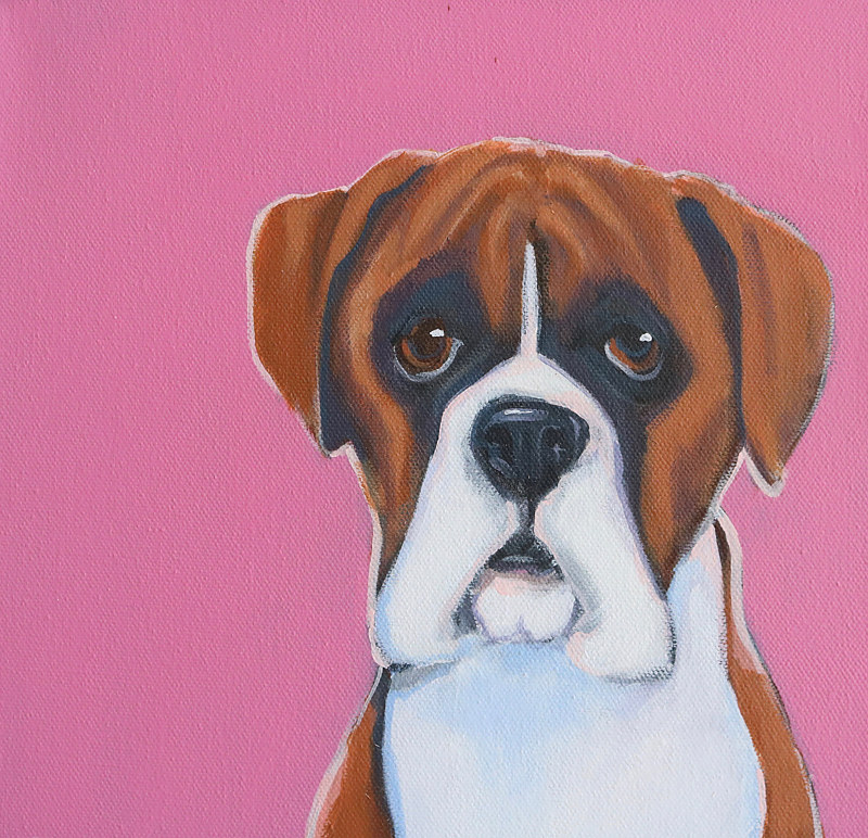 Acrylic painting BOXER FRIEND by Lesli Devito