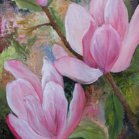 Oil painting  Pink Magnolias  oils on canvas by Barbara Haviland