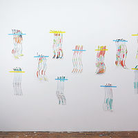 Acrylic painting Beach Wigs studio installation by Ashleigh Bartlett