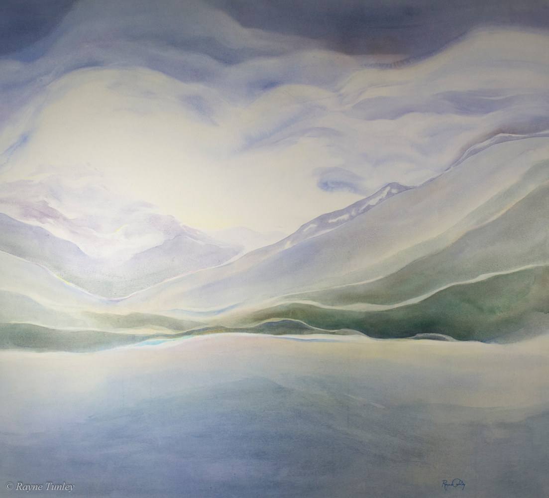 Rayne Tunley, Glacial Lake, 42in x 48in, watercolour by Rayne Tunley
