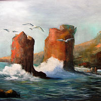 Oil painting Rocks and The Sea by Barbara Haviland