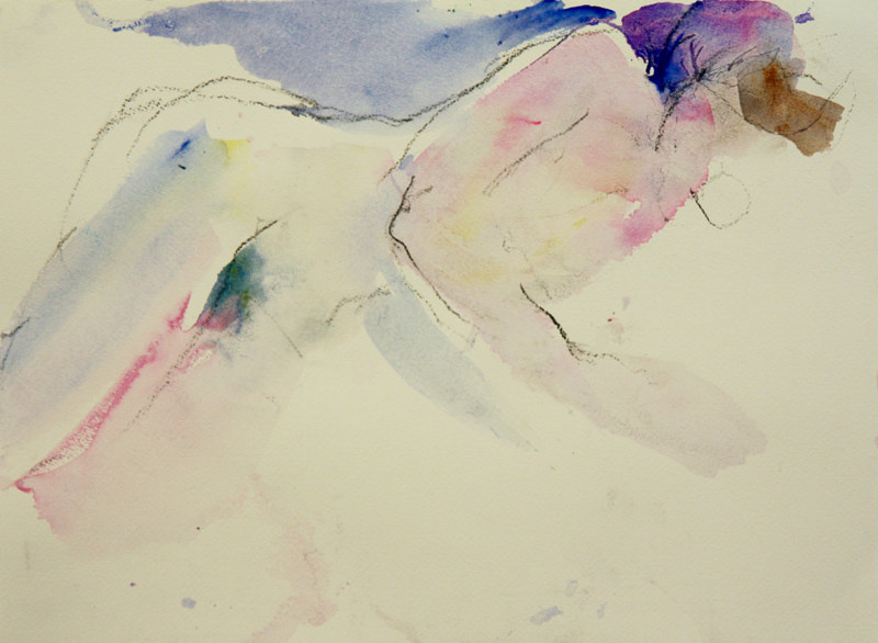 Watercolor nude landscape 2 by Madeline Shea
