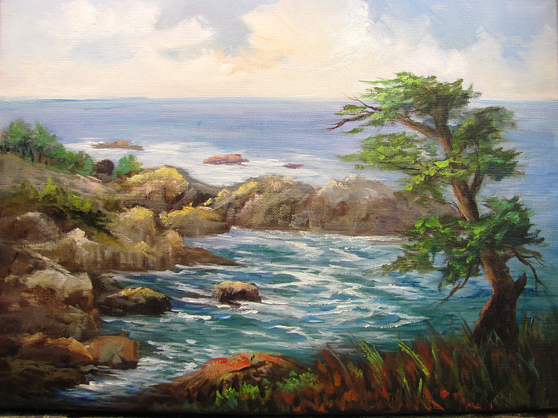 Painting Big Sur , seascape,oils on canvas by Barbara Haviland