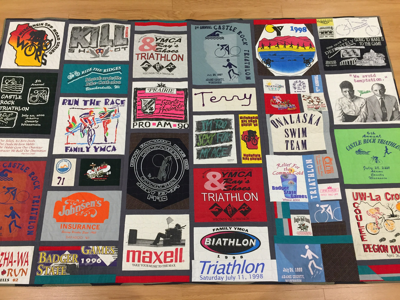 Tshirt Quilt, from wife to husband, November 2016 by Maday Delgado