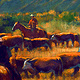 Oil painting Cattle Drive by Kim Fujiwara