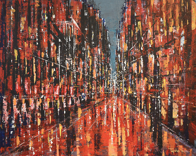 Acrylic painting City in Red  by David Tycho