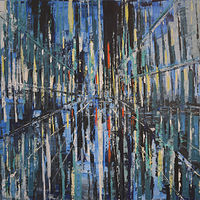 Acrylic painting City in Blue by David Tycho