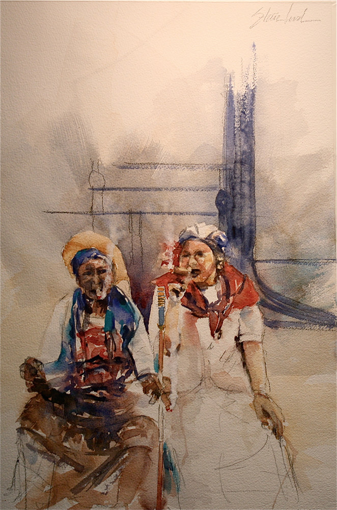 Watercolor The Cigar Sisters by Nella Lush