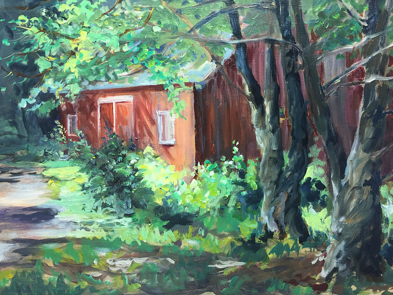 Oil painting Barn at Great Hollow by Betty Ann  Medeiros