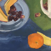 Oil painting Color Study with Mug and Melon II by Sarah Trundle