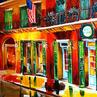 Oil painting Outside Pat O'Brien's Bar  by Diane Millsap