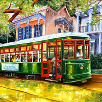 Oil painting Streetcar in the Garden District  by Diane Millsap