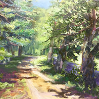 Oil painting Road at Great Hollow by Betty Ann  Medeiros