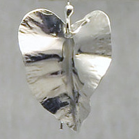 argentium sterling-foldform-leaf earrings by Vicki Allesia