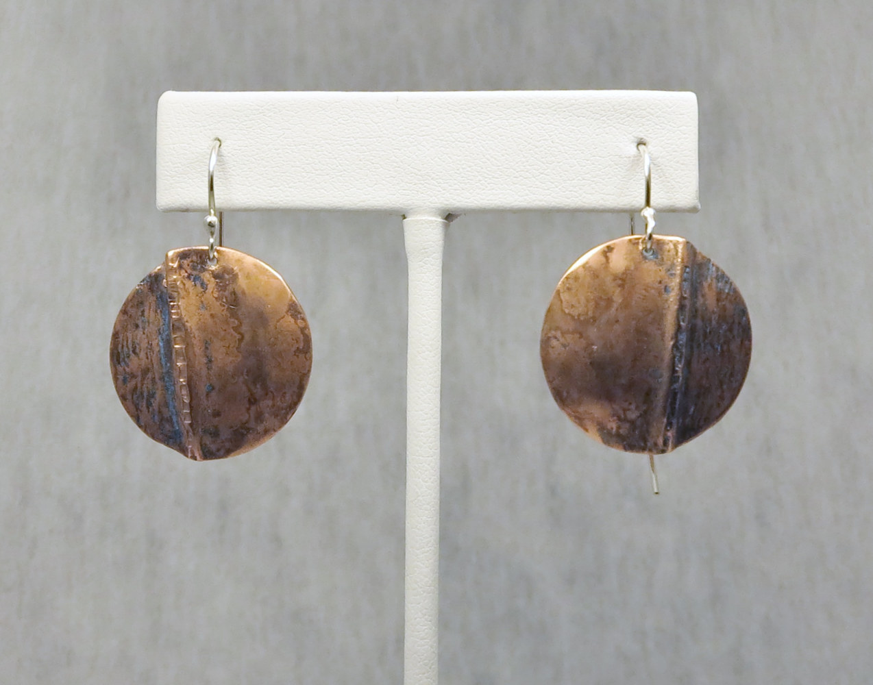 copper textured and formed earings by Vicki Allesia