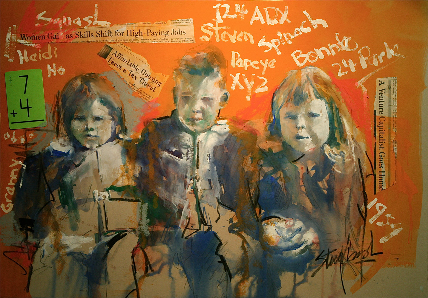 Mixed-media artwork Three Friends (Heidi, Steve and Bonnie) by Nella Lush