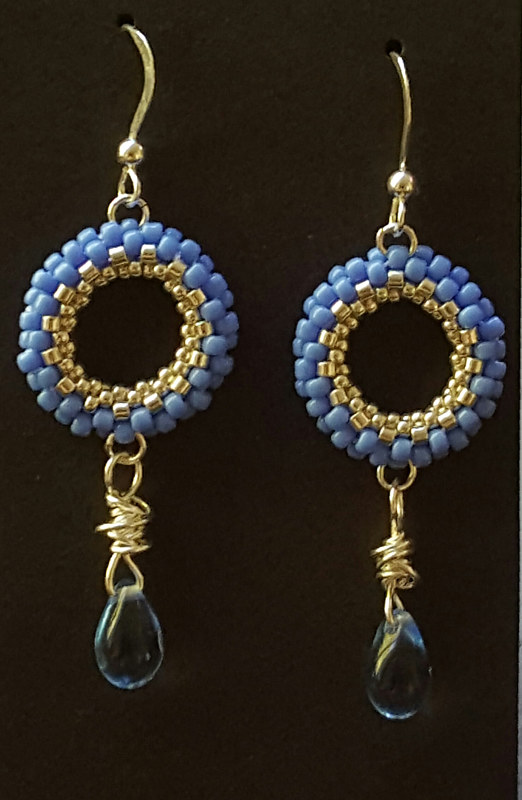 Beaded blue ring earrings  by Vicki Allesia