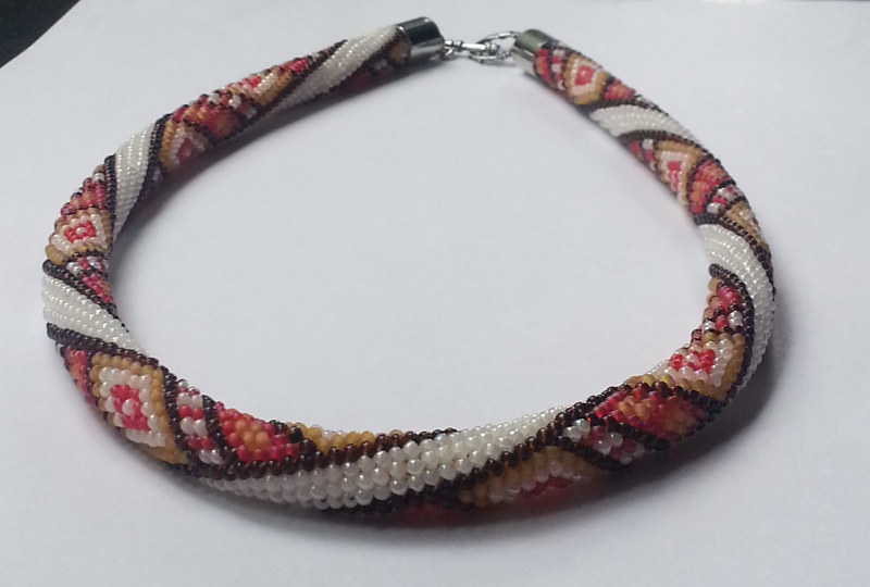 Beaded crochet necklace  by Vicki Allesia