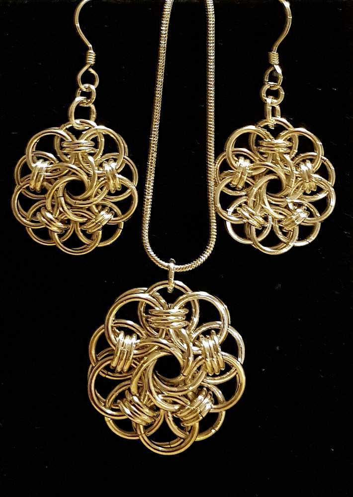 Chainmaille medallion ($55.00 CAD) and medallion earrings ($50.00) by Vicki Allesia