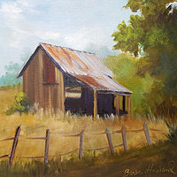 Painting Utah Barn, oils on canvas by Barbara Haviland