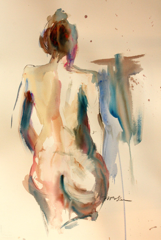 Watercolor nude with tattoo by Madeline Shea